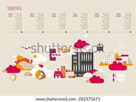 Modern City Background Illustration, Vector Info Graphics, Eps 10, City and Buildings, layout Template - stock vector