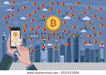 Modern City,Bitcoin currency symbol, Blockchain Ntransaction network with bitcoin currency. In the foreground hands with a mobile phone with the bitcoin quote.