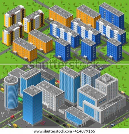 Modern city business center buildings and residential area apartments isometric horizontal banners composition abstract isolated vector illustration - stock vector