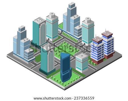 Modern city concept with isometric skyscraper offices 3d buildings decorative icons set vector illustration - stock vector