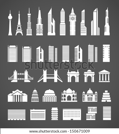 Modern city elements silhouettes collection - stock vector