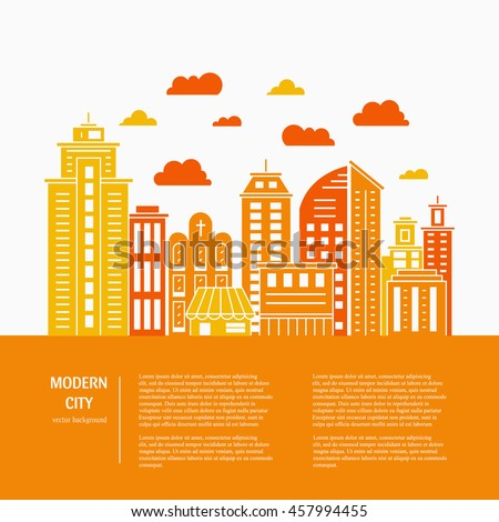 Modern city illustration with skyscrapers, different office buildings and clouds made in vector. Skyscraper collection with place for your text. Flyer or banner template with modern line style town.