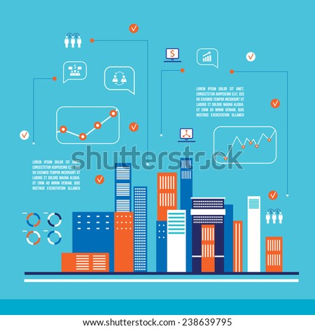 Modern city infographics flat design  - stock vector