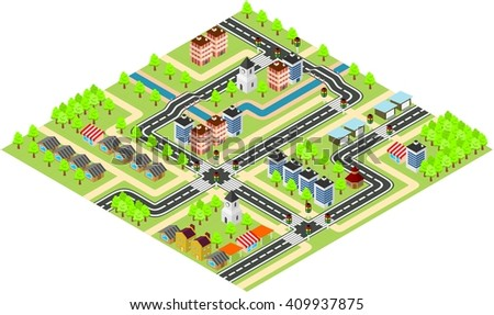 Modern city isometric map with transport infrastructure