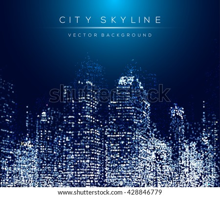 Modern city life abstract background design with dotted design concept. City at night, conceptual vector illustration. Well organized composition.