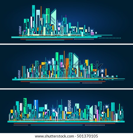 Modern city life abstract background design with geometric shapes. City at night, conceptual vector illustration.