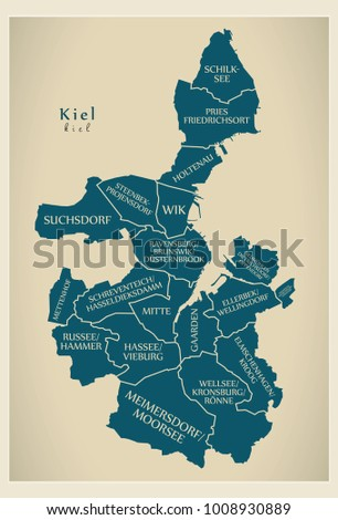 Modern City Map - Kiel city of Germany with boroughs and titles DE