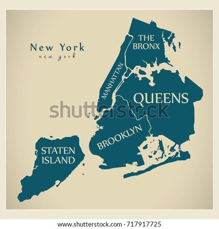 Modern City Map New York City Stock Vector Shutterstock - New york city map with boroughs