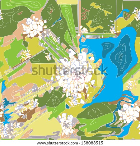 modern city map, no names, seamless pattern vector art - stock vector