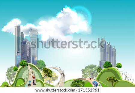 Modern city on the green hills - stock vector