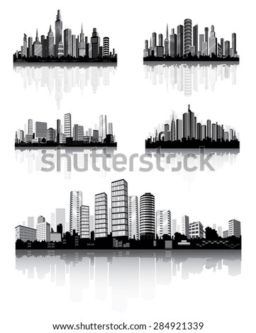 Modern City Panorama with Skyscraper . Town Architecture. Vector set .