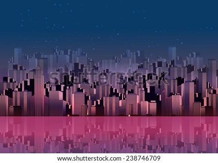 Modern City Skyline Landscape at Night with Skyscraper Offices and Reflection in Water - Vector Illustration - stock vector