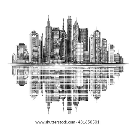 Modern City Skyline silhouette vector. Architecture and Buildings. Hand drawn sketch urban landscape. Business travel and tourism concept with modern buildings - stock vector