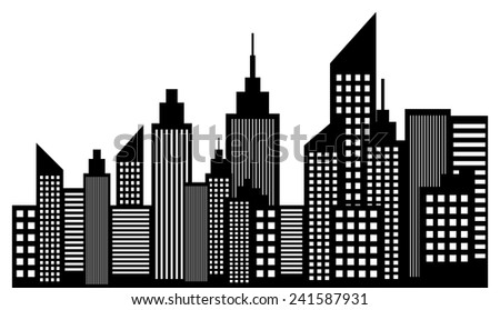 Modern City Skyline Skyscrapers - stock vector