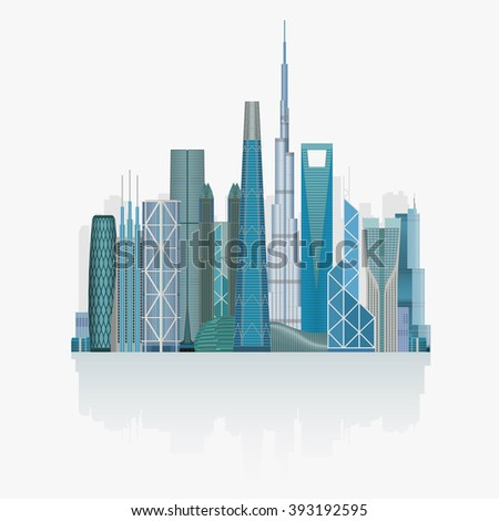 Modern City skyline skyscrapers high detailed vector illustration - stock vector