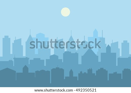 Modern City skyline . Urban landscape. Blue city silhouette. vector illustration in flat design. city landscape. Cityscape backgrounds. Daytime city skyline.