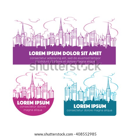 modern city skyline, vector labels and emblems collection - stock vector