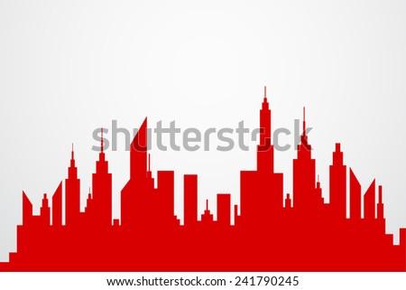 Modern City Skyscrapers Skyline Red Silhouette - stock vector