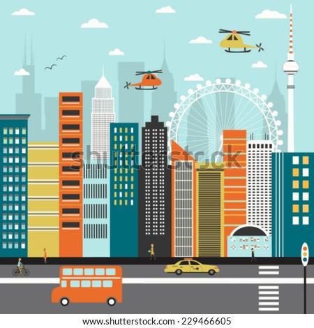 Modern city street. Vector - stock vector