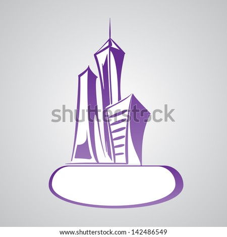 Modern  cityscape  cartoon vector  illustration - stock vector