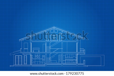 Modern Classic American House Facade Section Architectural Blueprint - stock vector