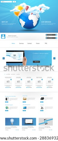 Modern Clean One page website design template.