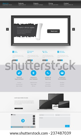 Modern Clean One page website design template. All in one set for website design that includes one page website template. - stock vector