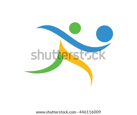 Modern Clean Volleyball Logo - Professional Volleyball Player Symbol  - stock vector