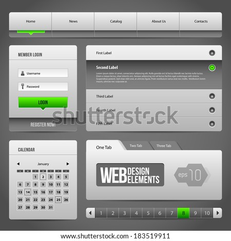 Modern Clean Website Design Elements Grey Green Gray 3: Buttons, Form, Slider, Scroll, Carousel, Icons, Menu, Navigation Bar, Download, Pagination, Video, Player, Tab, Accordion, Search - stock vector
