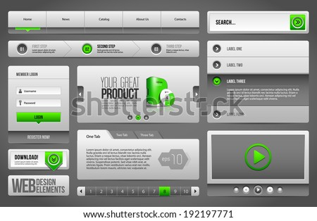 Modern Clean Website Design Elements Grey Green Gray: Buttons, Form, Slider, Scroll, Carousel, Icons, Menu, Navigation Bar, Download, Pagination, Video, Player, Tab, Accordion, Search  - stock vector
