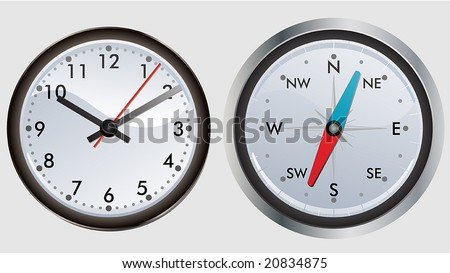 modern clock and compass - stock vector