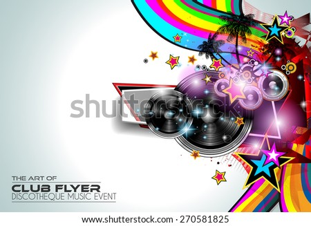 Modern Club Disco Flyer Art for Music Event backgrounds, posters, brochure, backgrounds, pages, covers, and so on. - stock vector