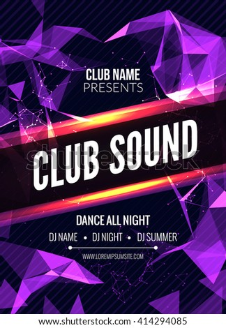 Modern Club Music Party Template, Dance Party Flyer, brochure. Night Party Club sound Banner Poster discotheque - stock vector