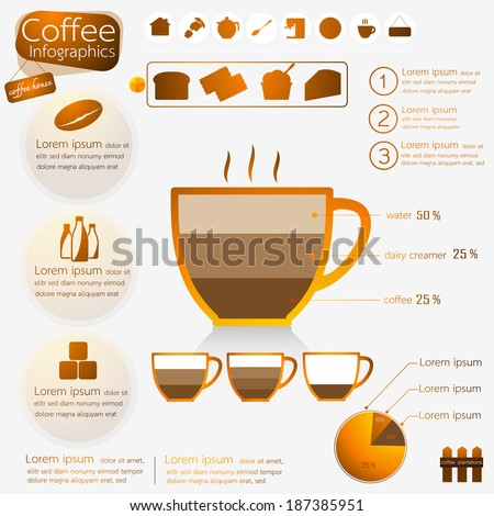 Modern coffee Infographics diagram design. Vector illustration. - stock vector