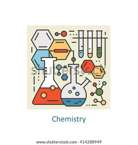 Modern color thin line concept of chemistry for school, university and training.  Art design vectors collection, Flat Style. Logo Concepts  for Trendy Designs.  - stock vector