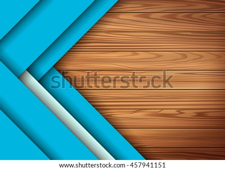 Modern colored material design elements in combination with realistic wooden surface background . Modern vector graphic design template A4 format . Applicable for Cover  - stock vector