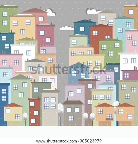 Modern Colorful City With Clouds, Winter Theme