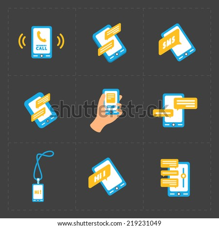 Modern colorful flat social icons set on Dark Background - stock vector