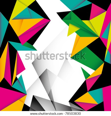 Modern colorful layout with angular abstraction. Vector illustration. - stock vector