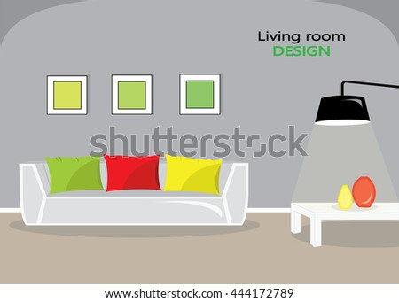 Modern colorful living room interior. Flat style vector illustration.