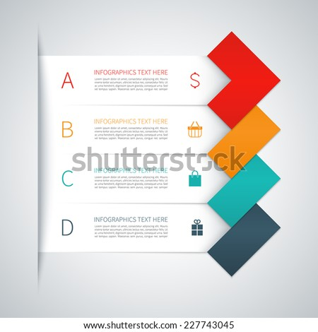 Modern colorful minimal arrow infographics elements. Origami style. Vector illustration. Can be used for workflow layout, diagram, number and step up options, web design. - stock vector