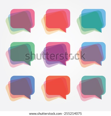 modern colorful multiple overlay transparency talk bubble logo icons set collection - stock vector
