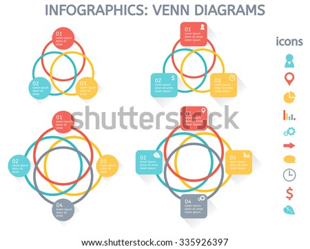Modern colorful set infographic elements business stock vector modern colorful set of infographic elements for business including four venn diagrams and set of icons ccuart Images