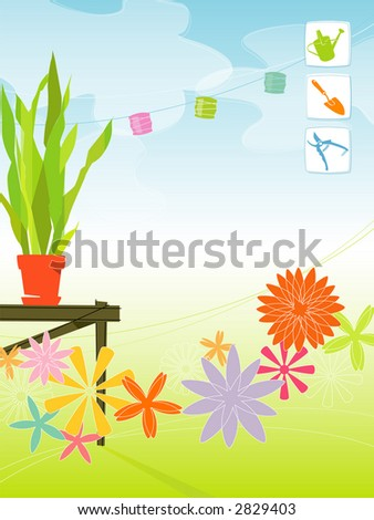 Modern, colorful stylized outdoor garden with paper lanterns, potting bench and flowers. Includes gardening icons. Items are grouped so you can use them independently from the background. - stock vector