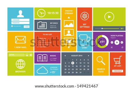 modern colorful user interface vector layout in flat design with simple square windows buttons