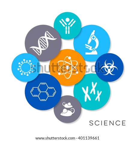 Modern colorful vector science infographic icons collection - stock vector