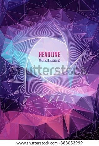 Modern colorfull geometric polygonal posters A4, future technology concept, pentagon line art design, shapes 3d. Typography abstract background for banners, web site, brochures, flyers, business cards - stock vector