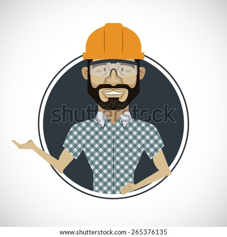 Modern comic builder worker illustration - stock vector
