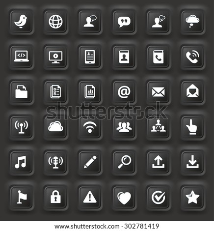 Modern Communication and Online Networking on Black Bevel Square Buttons