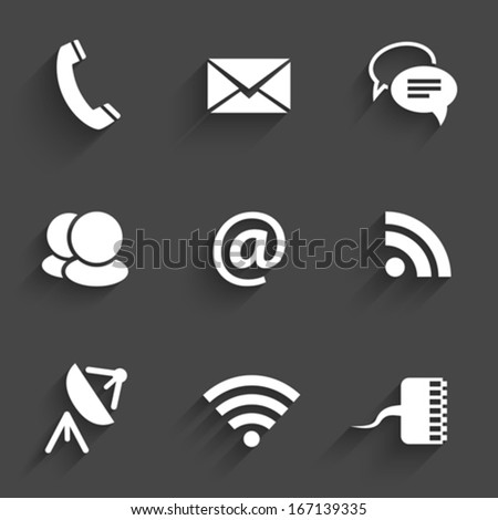 Modern communication signs and icons in Flat Design with shadows on dark gray. Vector illustration - stock vector